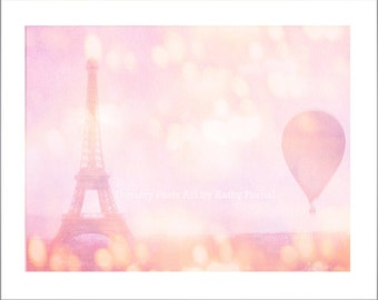 Paris Photography, Dreamy Pink Eiffel Tower, Eiffel Tower Pink Balloons, Paris Baby Girl Nursery Decor Prints, Paris Pink Hot Air Balloons