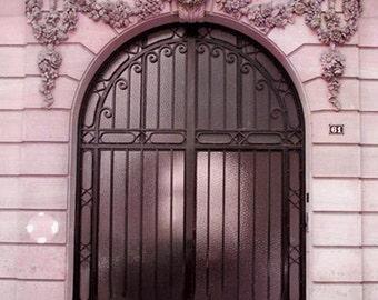 Paris Door Photography, Paris Pink Door Photo Prints, Paris Art Nouveau Door Print, Romantic Paris Pink Door, Paris Pink Door Architecture
