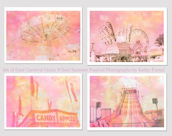 Pastel Carnival Print Set, Baby Girl Nursery Wall Decor, Pink Carnival Print Set, Dreamy Carnival Prints, Pink Pastel Nursery Carnival Decor