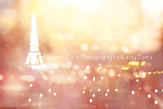 Paris Photography, Eiffel Tower Skyline Night Photo, Paris Eiffel Tower Lights Night Scene, Paris Surreal Bokeh Night Fine Art Photography