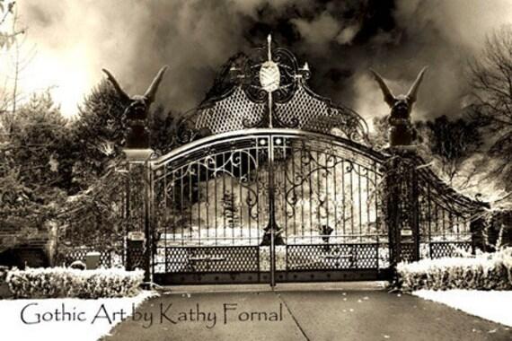 Gothic Gargoyle Photography, Gargoyles Gate Surreal Art, Dark Haunting Spooky Photo, Dark Eerie Gothic Gate, Fantasy Halloween Photography