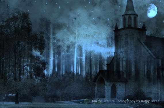 Surreal Church Photography, Gothic Blue Moonlit Night Church Print, Church In Woods, Haunting Surreal Gothic Church Woodlands Moonlit Night