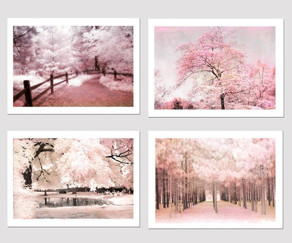 Pink nature photography baby girl nursery decor pink shabby for Pink wall art