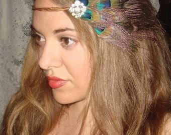 Feather hair accessory, Crown Headband-JADE, rhinestone headband, halo headband, feather headband, accessories, New Year's, boho, headband