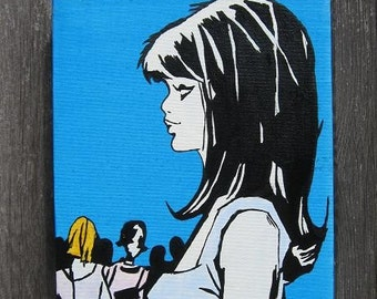 cute sixties mod girl in crowd on box canvas