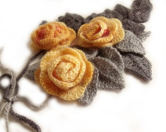 Freeform crochet lariat scarf necklace 3D flowers and leaves yellow peach gray grey