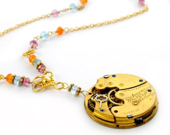 1893 Waltham Pocket Watch, Multi Gemstones, and  Vermeil Steampunk Necklace