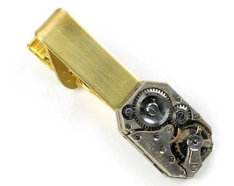 Vintage Watch Movement Steampunk Brass Tie Bar Alligator Clip