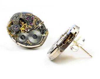 Steampunk Vintage Bulova Watch Movement with Sterling Silver Earpost Earrings