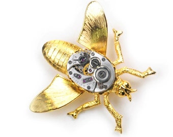Steampunk Antique1950's Elgin Watch Gold Wasp Brooch