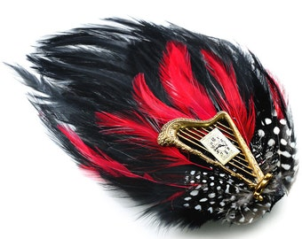 Steampunk Feather, Harp, and Antique Gruen Watch Dial Hair Clip