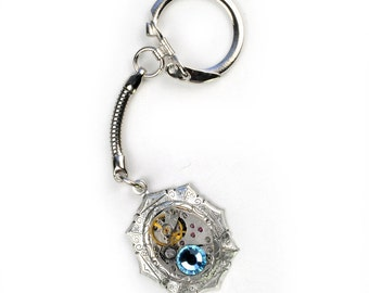 Steampunk Watch Movement and Aqua Crystal Silver Key Chain