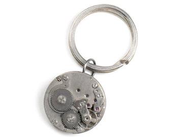 Steampunk Vintage Watch Silver Key Chain