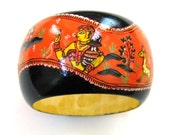Wide wooden statement Bangle with miniature indian painting depicting Indian Gods and Goddesses.