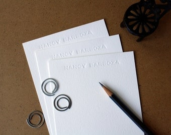 Personalized Letterpress Stationery - Blind Letterpress Note Cards - Set of 50