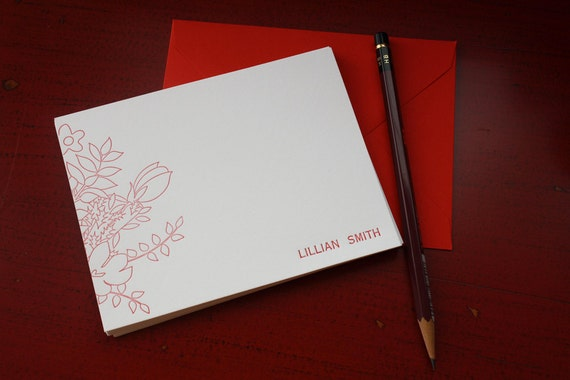 Personalized Letterpress Note Cards - Personal Stationery - Flower Cluster Notecards - Set of 25
