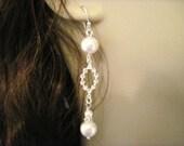 Wedding Jewelry, Bridal Jewelry Pearl and Crystal Wedding Earrings Amanda