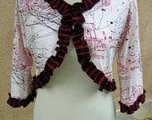 Women's Upcycled Large Cotton Bolero Sweater- Graffiti Splatter
