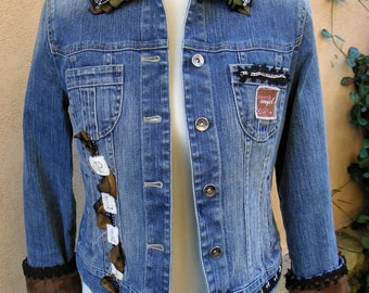 "SALE-Ladies Small Tricked Out Jean Jacket- ""I See U"""