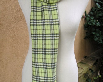 Ladies or Girls Fleece Bubble Scarf-Lime Green Plaid