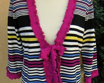 Women's Upcycled Large Cardigan- Multi Stripe
