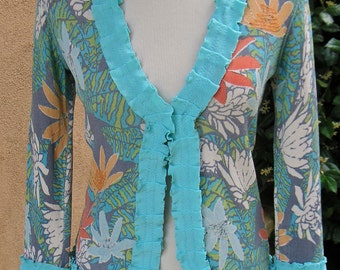 Women's Upcycled XS Cardigan- Tropical Nights