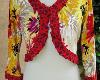 Women's Upcycled Medium/Large Bolero Sweater- Passion Flower