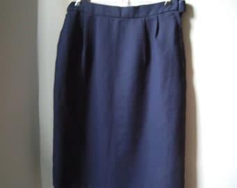 Navy Blue Pencil Skirt, Geoffrey Craig, Vintage Pleated Skirt, Dark Blue, Work Skirt, Size Large, Size 8, 10 or 12, Slit, Elastic Waist