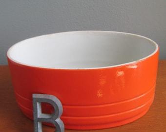 Hall Westinghouse Orange Red Oval Dish, Refrigerator Dish, Westinghouse Ovenware, Orange Dish, Red Refrigerator Dish