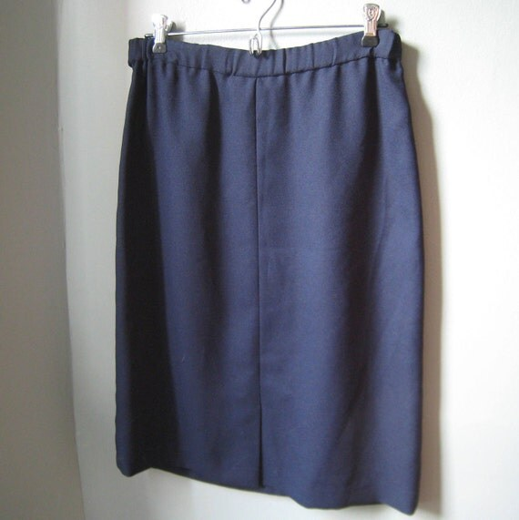 Navy Blue Vintage Pleated Pencil Skirt by Geoffrey Craig, Large, Size 8, 10 or 12