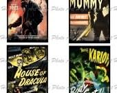 Vintage Halloween Horror Movie Monsters No 4 Digital Collage Sheet 3x5 -  ATC ACEO tags postcard greeting cards - U print 300dpi jpg sh227