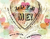 LoVe Me Vintage Valentine Digital Collage Sheet 5x7 image transfer greeting sweet hearts love backgrounds sheet music UPrint 300jpg