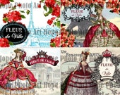 Marie Antoinette Paris Greeting Cards Digital Collage Sheet eiffel tower bonjour postcard stationary gift greeting cards UPrint 300jpg