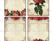 Vintage Cottage Tea Rose 3x4 Digital Collage Sheet tags backgrounds ATC ACEO postcard greeting cards - U-print 300dpi jpg sh121