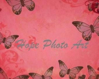 Pink Vintage Butterfly 8.5x11 Digital Collage Sheet digital paper craft supplies printable art greeting cards scrapbooking - U print sh79