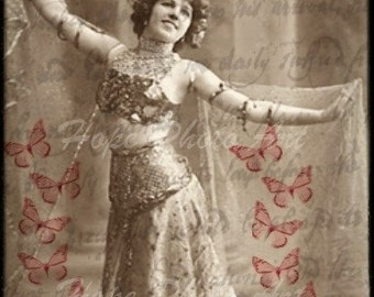 Gypsy Vaudeville Bellydancer Butterfly 4x6 Postcard Digital Collage Sheet ATC ACEO tags greeting cards paper supplies -  U Print 300dpi jpg