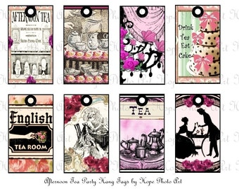Victorian Afternoon Garden Tea Party Tags Digital Collage Sheet Atc Aceo postcard greeting cards hang tags gift - U-print sh4