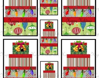 Christmas Shabby Chic Hat Box 3x5 Digital Collage Sheet - backgrounds ATC ACEO greeting cards hang tags gift - U-print sh103