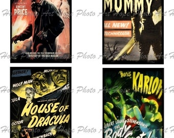 Vintage Halloween Horror Movie Monsters No 4 Digital Collage Sheet 3x5 -  ATC ACEO tags postcard greeting cards - U print 300dpi jpg sh227