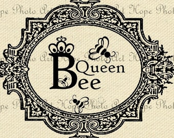 Queen Bee Image Transfer Digital Collage Sheet honey bees crown Burlap Feed Sacks Canvas Pillows Tea Towels greeting cards UPrint 300jpg