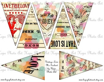 Vintage Valentine LoVe Me Banner 3x4.5 Digital Collage Sheet - garland home decor craft supplies flags decoration bunting UPrint 300jpg