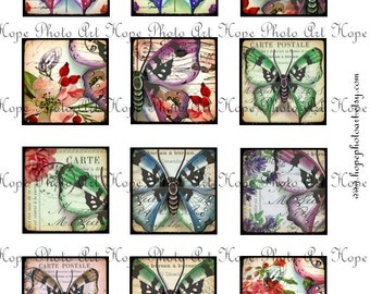Vintage Butterfly French Postcard 2 x 2 Digital Collage Sheet jewelry magnets glass soldered pendants cabs greeting cards tags Uprint 300jpg