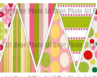 Pastel Pink Lime Green Garland 3x4.5 Digital Collage Sheet Printable Party banner pennant flags decoration bunting UPrint 300dpi