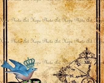 Bluebird Top Hat Vintage Digital Collage Sheet image transfer bluebird royal crown roses digital paper steampunk UPrint 300jpg