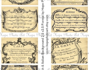 Vintage French and Italian Background Tags 2.5x3.5 Digital Collage Sheet labels greeting cards postcard ATC ACEO UPrint 300jpg