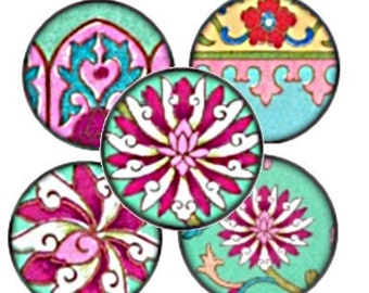 Lotus Flowers 1 Inch Circle Digital Collage Sheet - bottlecaps jewelry pendant ring clear glass domes round bubbles - U print 300dpi jpg