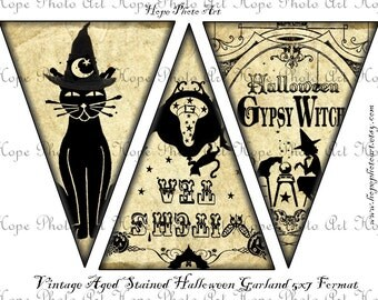 Halloween Silhouettes Digital Collage Sheet 5x7 Printable Party banner garland pennant flags decoration bunting UPrint 300jpg