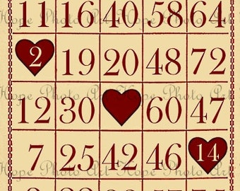 Bingo Valentine Love 3x5 Tags Digital Collage Sheet Atc Aceo tags postcard greeting cards hang tags gift - U-Print JPG format 300dpi