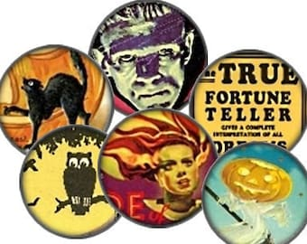 Vintage Halloween Victorian Horror Movie Digital Collage Sheet 1 inch Circle Printable Download pendants bottlecaps magnets bezel trays