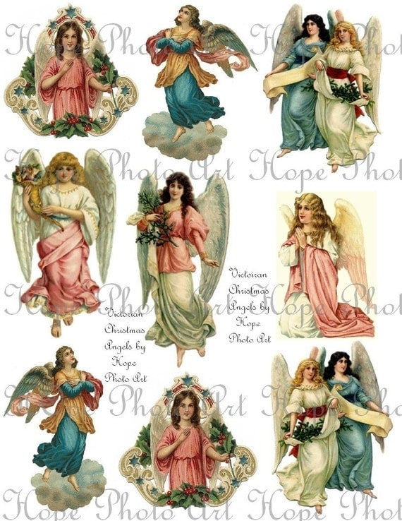 Victorian Christmas Angels Digital Collage Sheet backgrounds ATC ACEO tags paper supplies greeting cards UPrint 300jpg